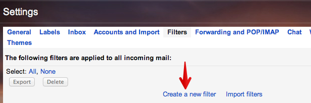 gmail create new filter