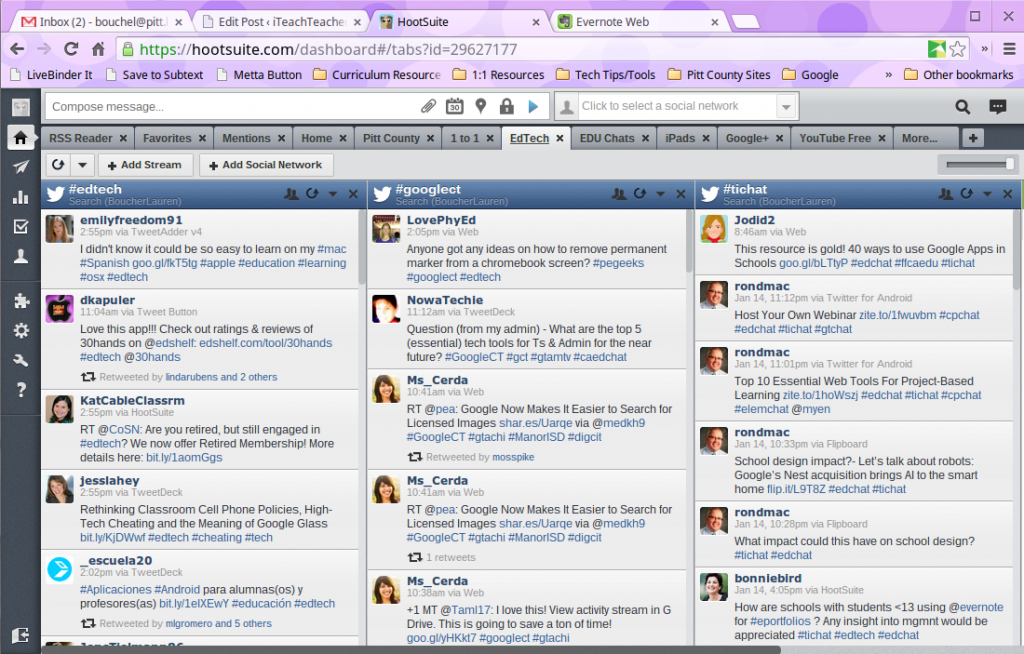 Screenshot of Hootsuite dashboard.